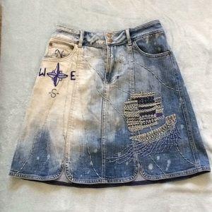 Anthropologie Denim Embroidered Sailing Skirt